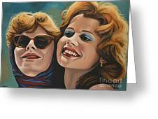 Susan Sarandon And Geena Davies Alias Thelma And Louise Greeting Card by Paul Meijering