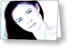Susan Ward Blue Eyed Beauty With A Mole II Greeting Card