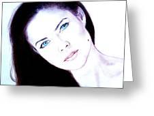 Susan Ward Blue Eyed Beauty With A Mole II Greeting Card