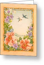 Swallows And Peonies Greeting Card