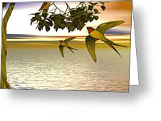 Swallows At Sunset Greeting Card by Sandra Bauser Digital Art