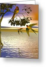 Swallows At Sunset Greeting Card