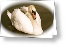 Swan Cameo In Sepia Greeting Card