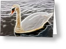 Swan In The Water Fractal Greeting Card