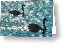Swan Lake Greeting Card by Ayse Deniz