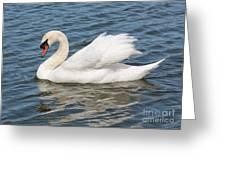 Swan On Blue Waves Greeting Card