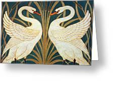 Swan Rush And Iris Greeting Card