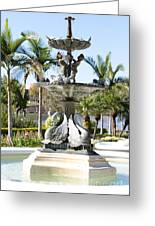 Swan Fountain In Lakeland Greeting Card