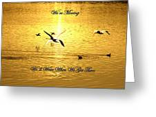 Swans Flying Over The Water Greeting Card