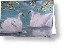 Swans On Pond Greeting Card by Kat Poon