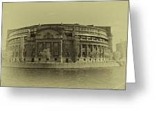 Swedish Parliament In Sepia Greeting Card