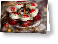 Sweet - Cupcake - Red Velvet Cupcakes  Greeting Card by Mike Savad