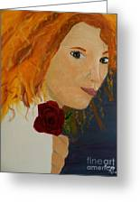 Sweet Lady Holding A Rose Greeting Card