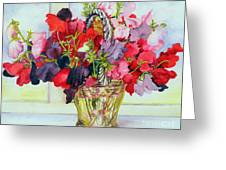 Sweet Peas In A Vase Greeting Card