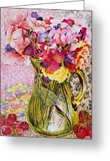 Sweet Peas With Cherries And Strawberries Greeting Card