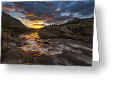 Swiftcurrent Sunrise Greeting Card by Joseph Rossbach
