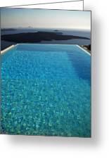 Swim Above The Santorini Island Greeting Card