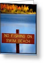 Swim Beach Sign L Greeting Card