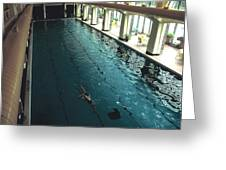 Swimmer In Pool At Banff Lodge Greeting Card