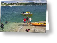 Swimmers On The Slipway - St Mawes Greeting Card