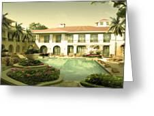 Swimming Pool In Luxury Hotel Greeting Card
