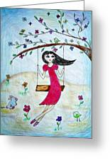 Swinging In A Tree Greeting Card by Jo Ann