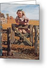 Swinging On A Gate Greeting Card