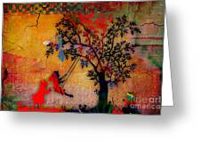 Swinging On A Tree Greeting Card
