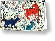 Swirls And Pussycats Greeting Card