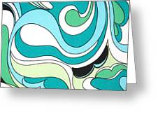 Swirls Blue Green Greeting Card