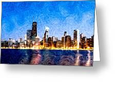 Swirly Chicago At Night Greeting Card