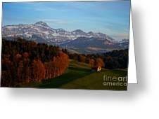 Swiss Alpine Scene Greeting Card