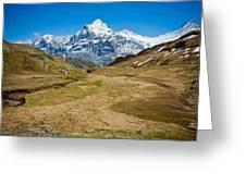 Swiss Alps - Schreckhorn And Valley Greeting Card