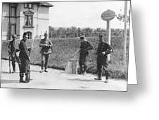 Swiss And German Border Guards Greeting Card