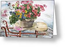 Swiss Sled With Flowers Greeting Card