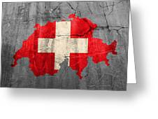 Switzerland Flag Country Outline Painted On Old Cracked Cement Greeting Card