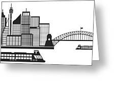 Sydney Australia Skyline Black And White Illustration Greeting Card