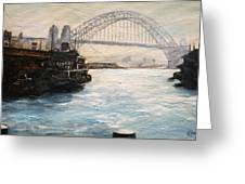 Sydney Ferry Wharves 1950's Greeting Card