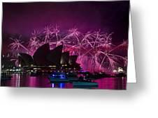 Sydney Fireworks - Purple Greeting Card