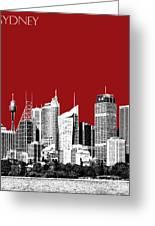 Sydney Skyline 1 - Dark Red Greeting Card