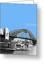 Sydney Skyline 2 Harbor Bridge - Light Blue Greeting Card