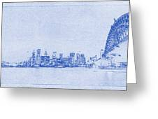 Sydney Skyline Blueprint Greeting Card by Kaleidoscopik Photography