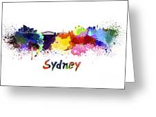 Sydney Skyline In Watercolor Greeting Card
