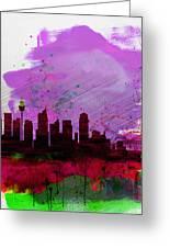 Sydney Watercolor Skyline 2 Greeting Card