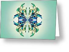 Symmetrical Orchid Art - Blues And Greens Greeting Card