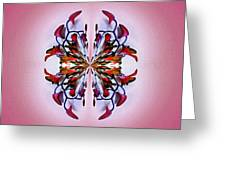 Symmetrical Orchid Art - Reds Greeting Card
