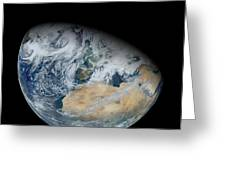 Synthesized View Of Earth Showing North Greeting Card by Stocktrek Images