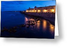 Syracuse Sicily Blue Hour - Ortygia Evening Mood Greeting Card