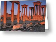 Syria, The Great Tetra Pylon At Palmyra Greeting Card