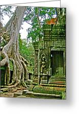 Ta Prohm And Tree Invasion In Angkor Wat Archeologial Park Near Siem Reap-cambodia Greeting Card
